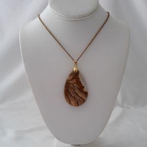 Picture Jasper Pendant Necklace Large Brown Heals